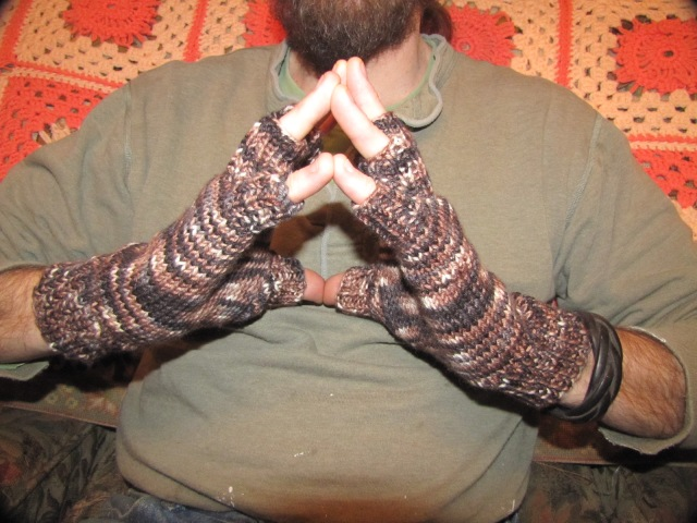 Chip's new fingerless gloves