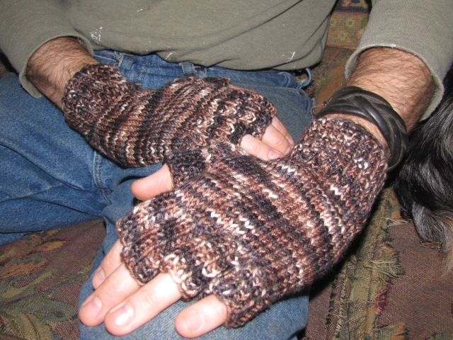 fingerless gloves two hands