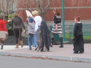 The little dementor walking in his Halloween parade at school
