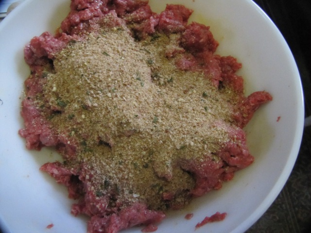 meat with eggs and breadcrumbs