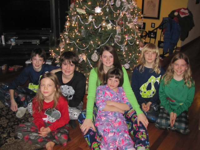 all the cousins in their Xmas PJs