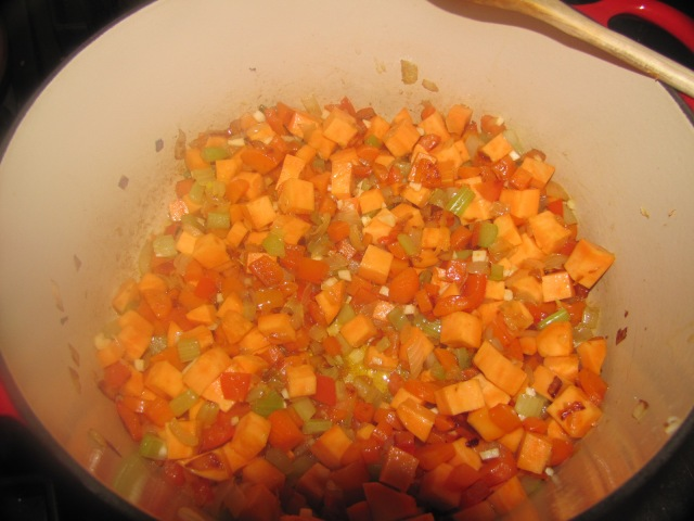 raw vegys for split pea soup