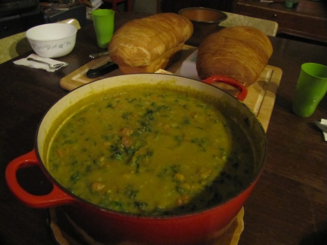 soup and bread on the table