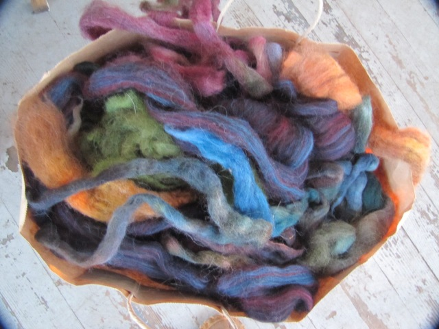 top of bag of roving pieces