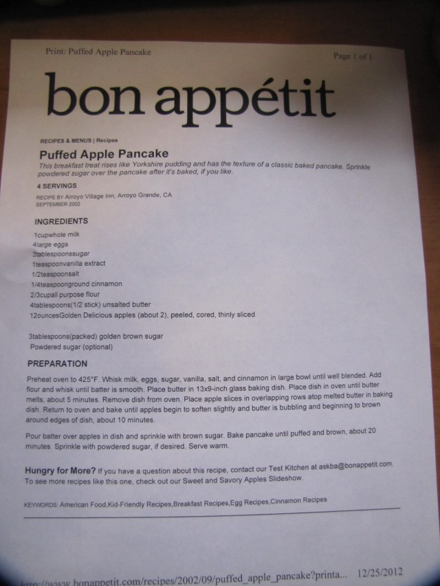 Recipe for Puffed Apple Pancakes