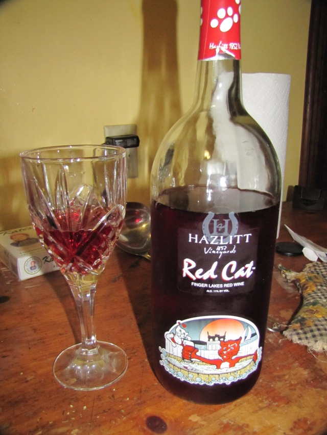 a glass of Red Cat wine while cooking