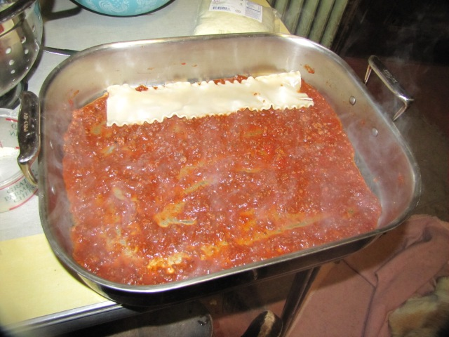 sauce on the bottom of your lasagna pan