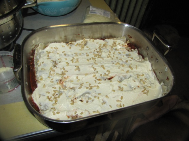 ricotta layer with pine nuts