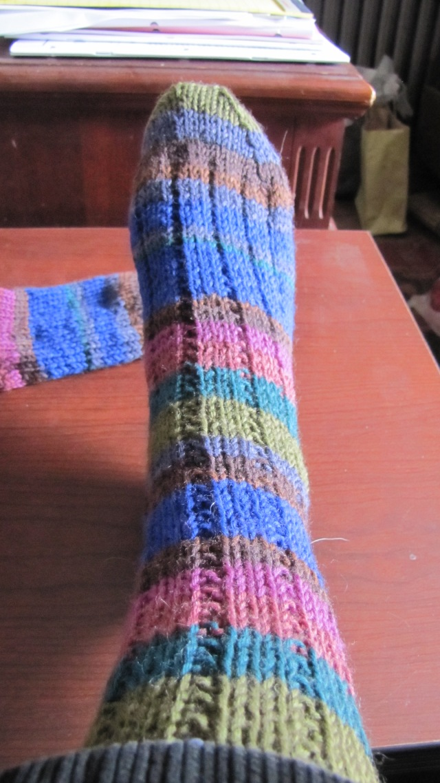 top view of Chip's Thuja sock