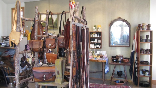 leather rack in store