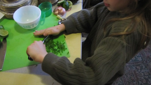 Vash dicing the jalapeno