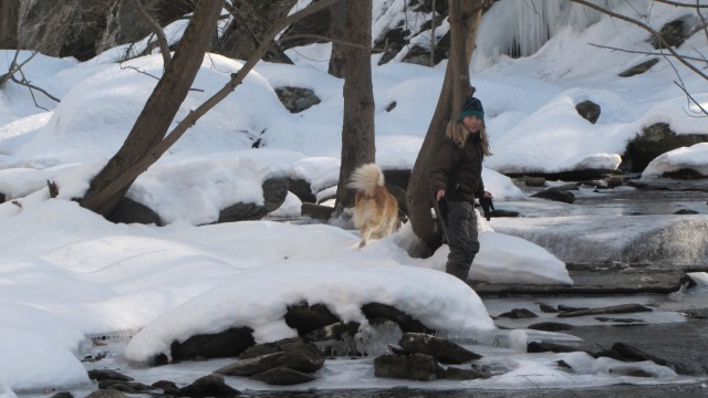Markus and Tucker at the creek
