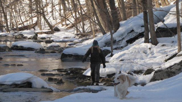Markus and Tucker along the creekbed